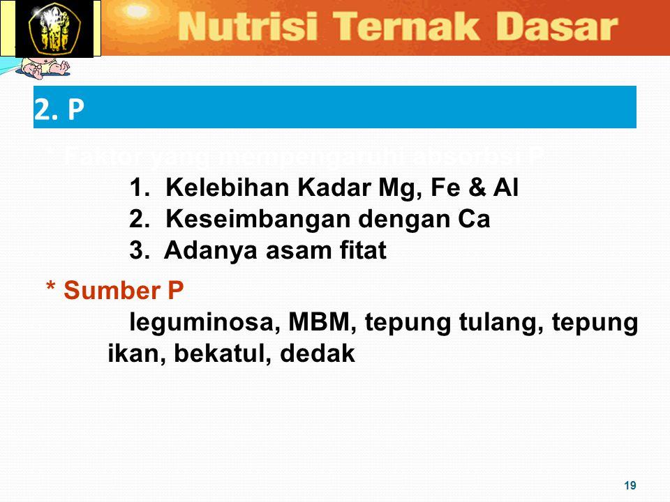 2. P 19 * Faktor yang mempengaruhi absorbsi P 1. Kelebihan Kadar Mg, Fe & Al 2. Keseimbangan dengan Ca 3. Adanya asam fitat * Sumber P leguminosa, MBM