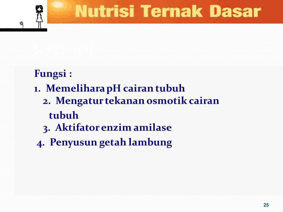 5. Klor (Cl) Fungsi : 1. Memelihara pH cairan tubuh 2. Mengatur tekanan osmotik cairan tubuh 3. Aktifator enzim amilase 4. Penyusun getah lambung 25