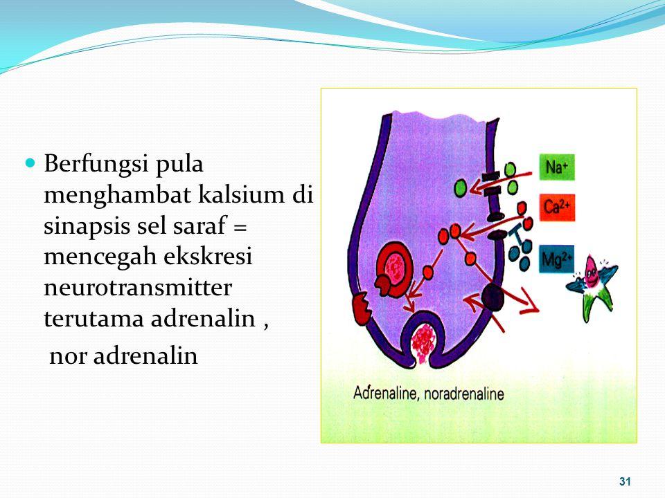 Berfungsi pula menghambat kalsium di sinapsis sel saraf = mencegah ekskresi neurotransmitter terutama adrenalin, nor adrenalin 31