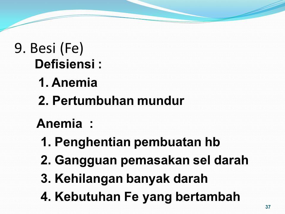 9. Besi (Fe) 37 Defisiensi : 1. Anemia 2. Pertumbuhan mundur Anemia : 1. Penghentian pembuatan hb 2. Gangguan pemasakan sel darah 3. Kehilangan banyak