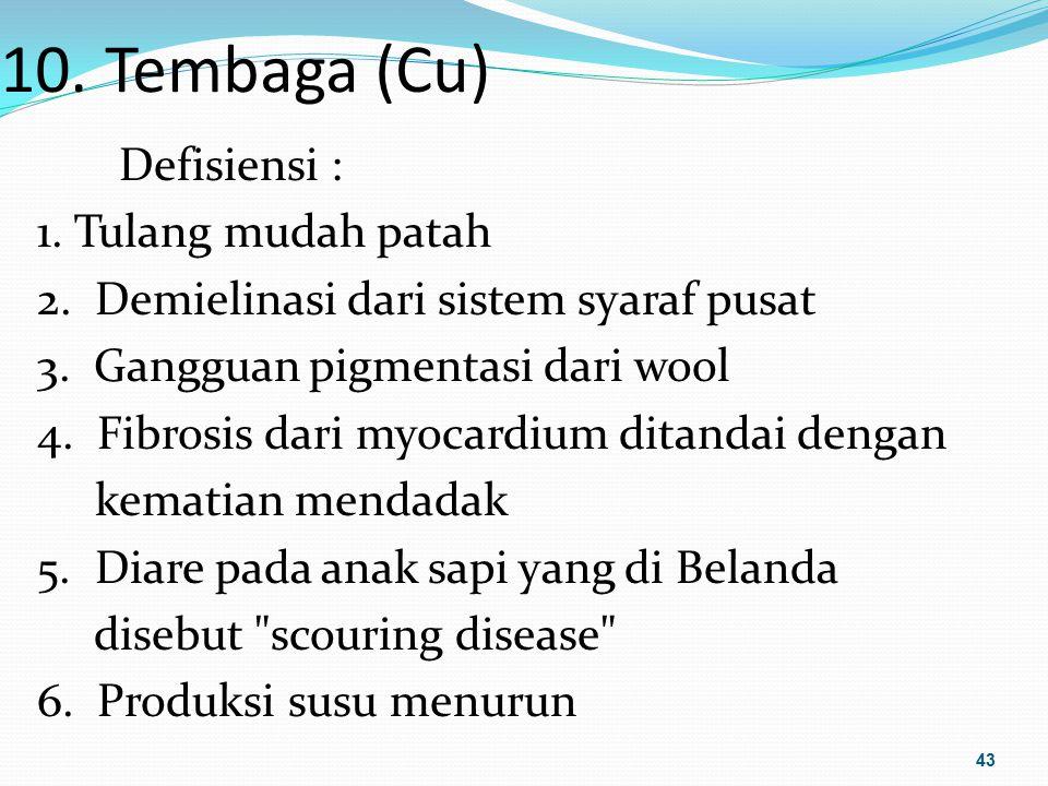 10. Tembaga (Cu) Defisiensi : 1. Tulang mudah patah 2. Demielinasi dari sistem syaraf pusat 3. Gangguan pigmentasi dari wool 4. Fibrosis dari myocardi