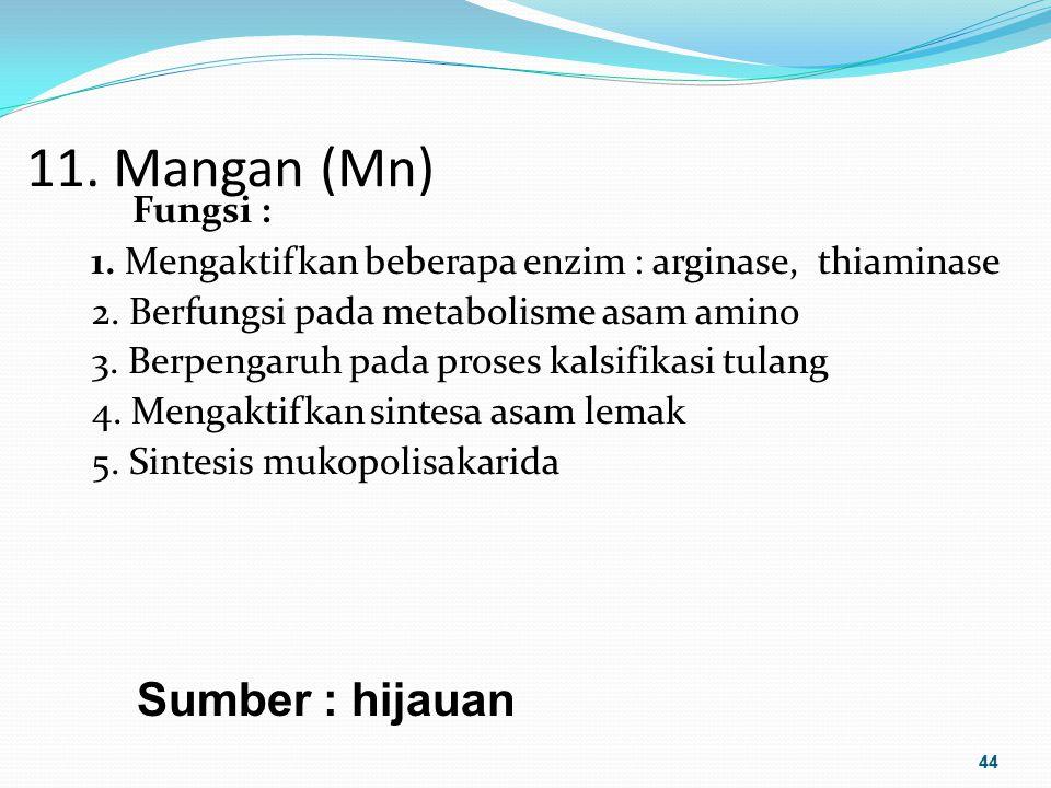 11. Mangan (Mn) Fungsi : 1. Mengaktifkan beberapa enzim : arginase, thiaminase 2. Berfungsi pada metabolisme asam amino 3. Berpengaruh pada proses kal