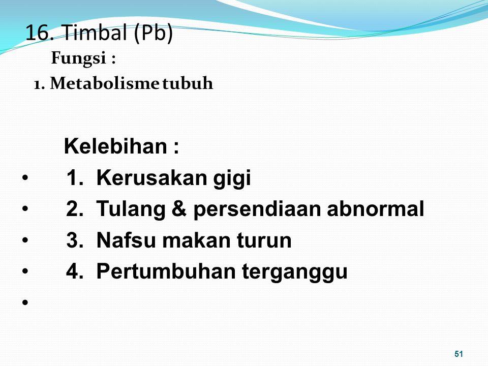 16. Timbal (Pb) Fungsi : 1. Metabolisme tubuh 51 Kelebihan : 1. Kerusakan gigi 2. Tulang & persendiaan abnormal 3. Nafsu makan turun 4. Pertumbuhan te