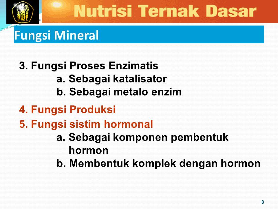 Fungsi Mineral 8 3. Fungsi Proses Enzimatis a. Sebagai katalisator b. Sebagai metalo enzim 4. Fungsi Produksi 5. Fungsi sistim hormonal a. Sebagai kom