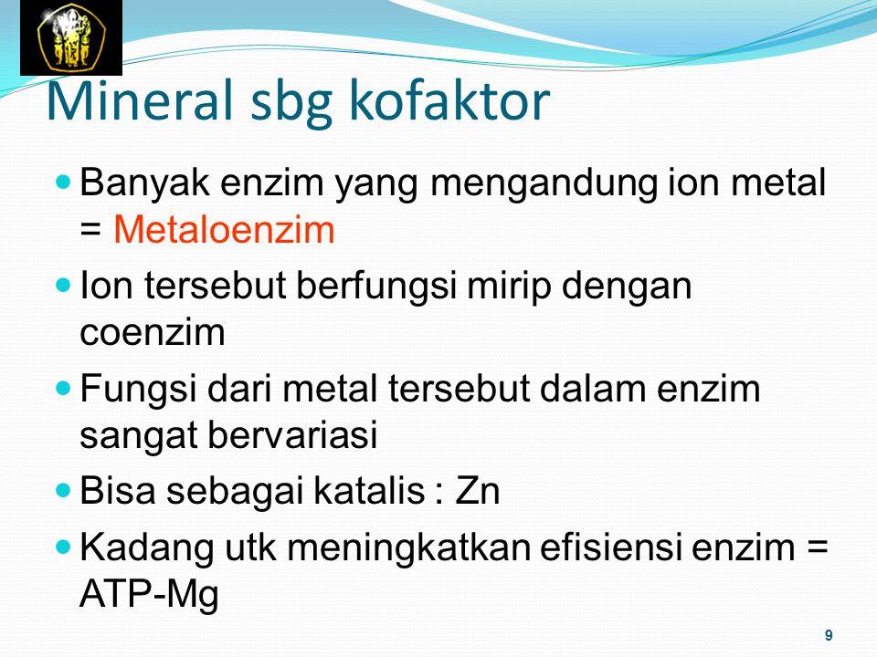 Mineral sbg kofaktor Banyak enzim yang mengandung ion metal = Metaloenzim Ion tersebut berfungsi mirip dengan coenzim Fungsi dari metal tersebut dalam
