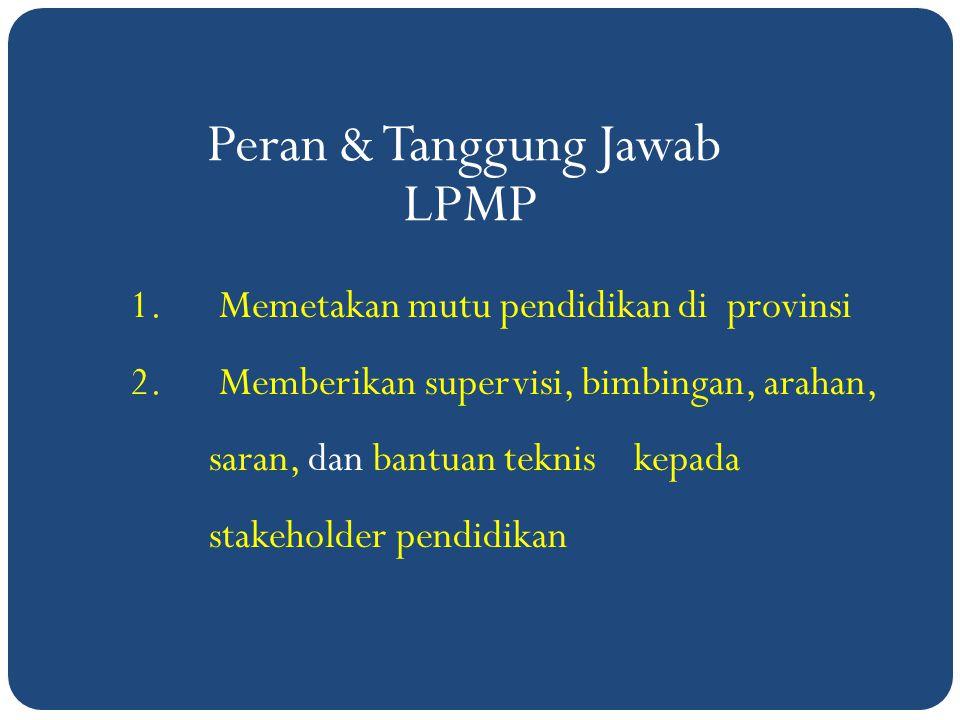 Peran & Tanggung Jawab LPMP 1.Memetakan mutu pendidikan di provinsi 2.