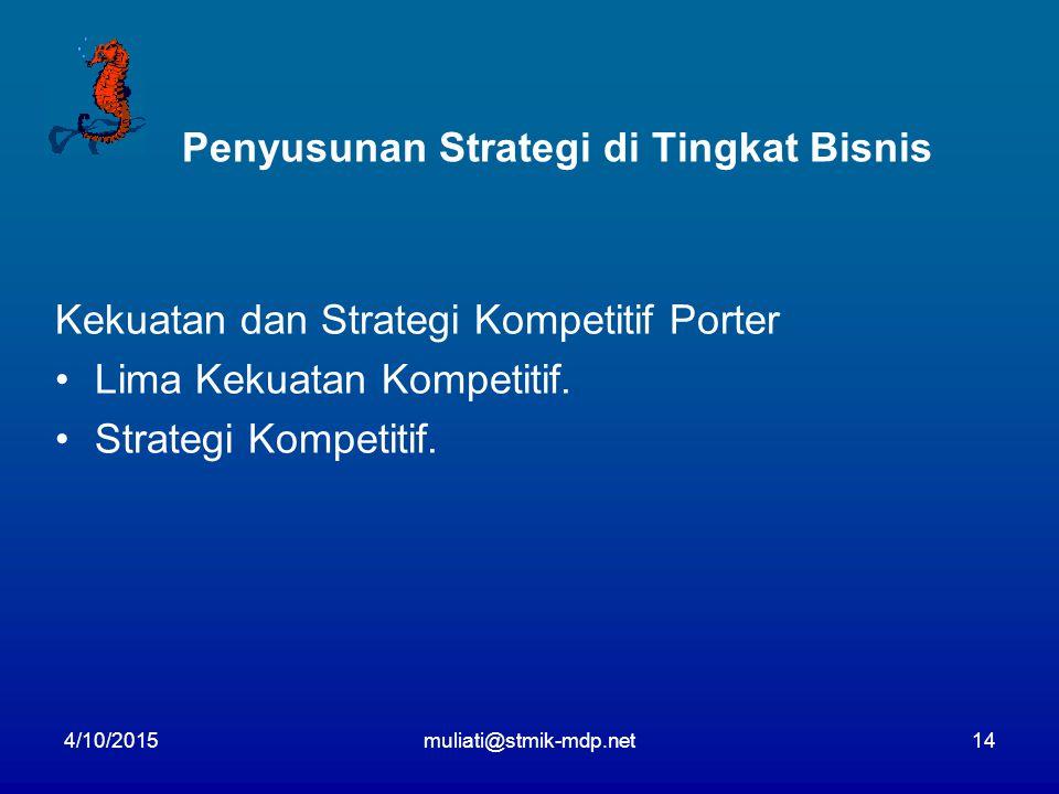 4/10/2015muliati@stmik-mdp.net14 Penyusunan Strategi di Tingkat Bisnis Kekuatan dan Strategi Kompetitif Porter Lima Kekuatan Kompetitif. Strategi Komp