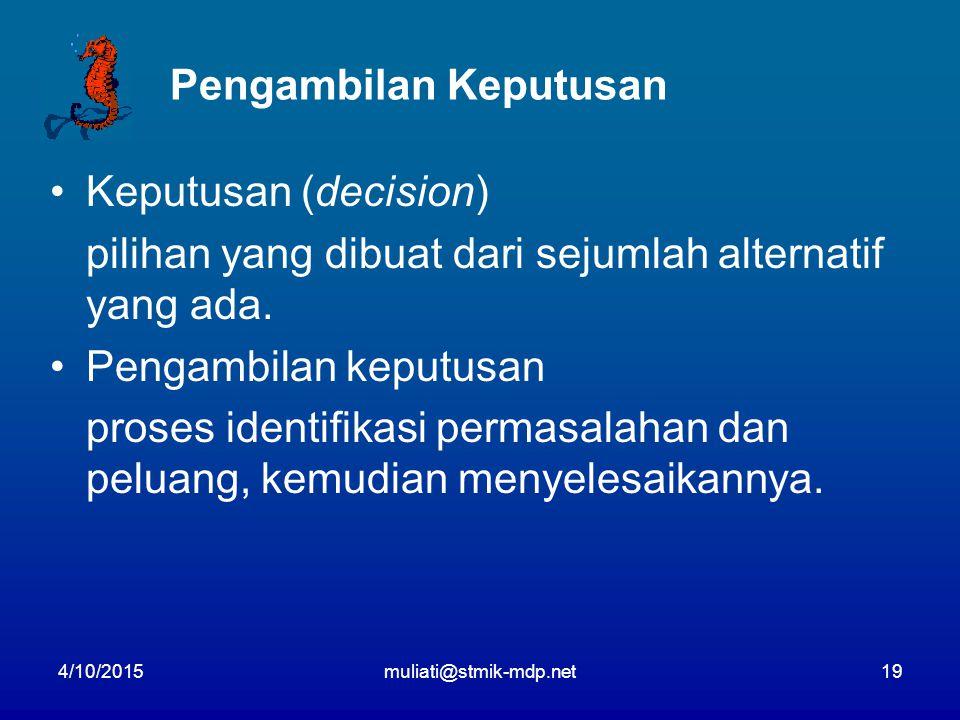 4/10/2015muliati@stmik-mdp.net19 Pengambilan Keputusan Keputusan (decision) pilihan yang dibuat dari sejumlah alternatif yang ada.