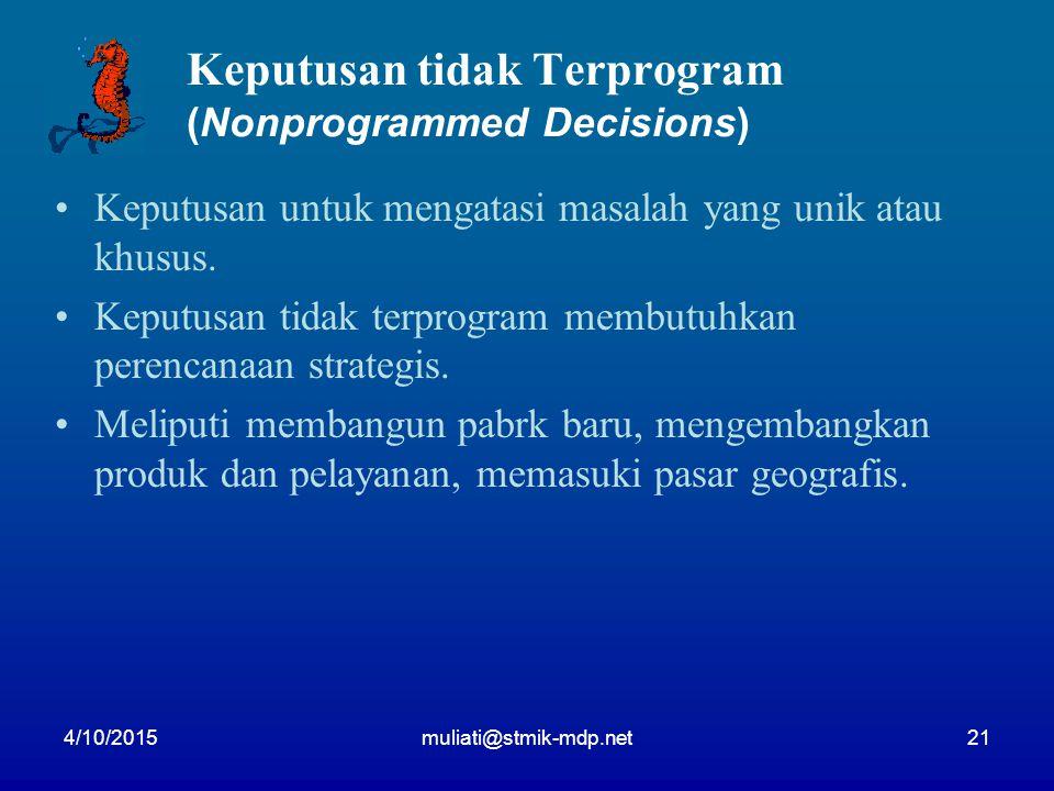 4/10/2015muliati@stmik-mdp.net21 Keputusan tidak Terprogram (Nonprogrammed Decisions) Keputusan untuk mengatasi masalah yang unik atau khusus. Keputus