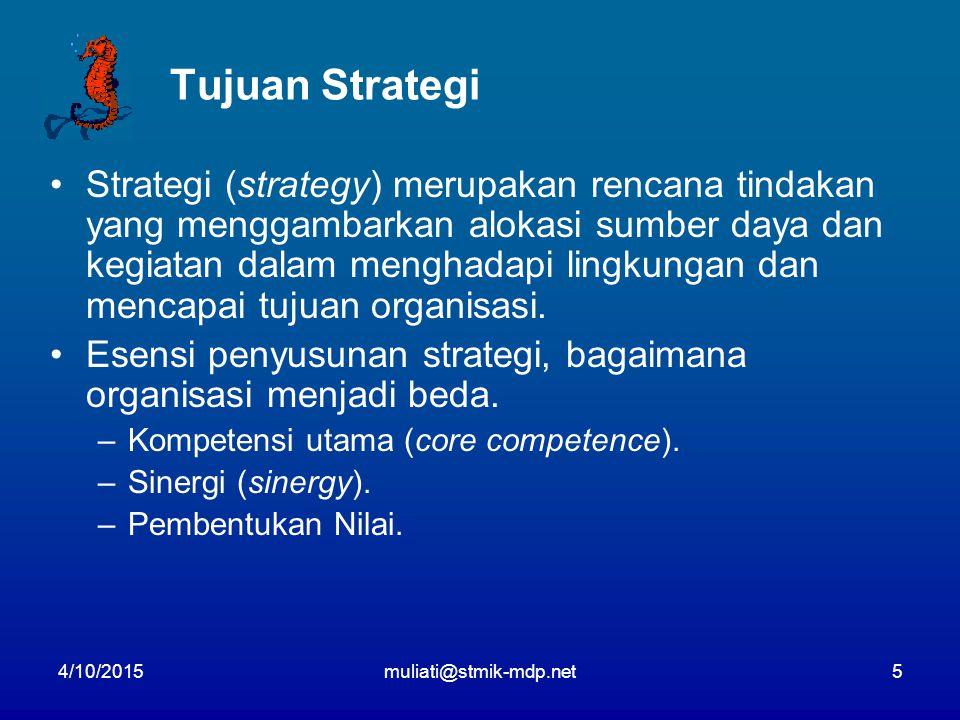 4/10/2015muliati@stmik-mdp.net5 Tujuan Strategi Strategi (strategy) merupakan rencana tindakan yang menggambarkan alokasi sumber daya dan kegiatan dalam menghadapi lingkungan dan mencapai tujuan organisasi.