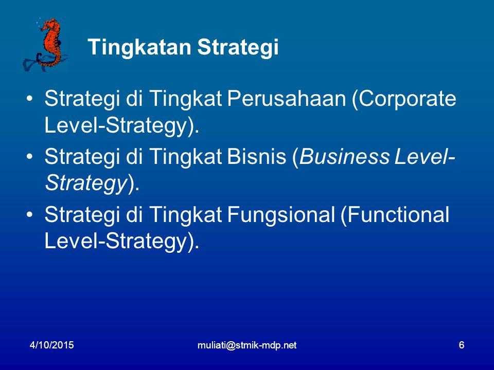 4/10/2015muliati@stmik-mdp.net6 Tingkatan Strategi Strategi di Tingkat Perusahaan (Corporate Level-Strategy). Strategi di Tingkat Bisnis (Business Lev
