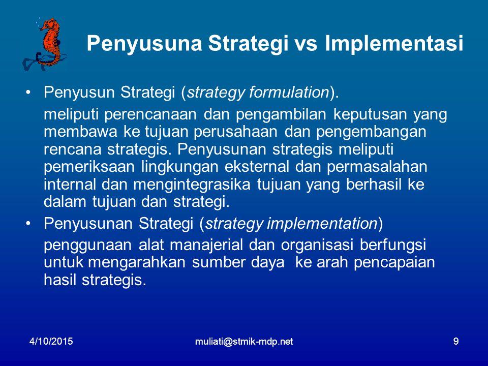 4/10/2015muliati@stmik-mdp.net9 Penyusuna Strategi vs Implementasi Penyusun Strategi (strategy formulation). meliputi perencanaan dan pengambilan kepu
