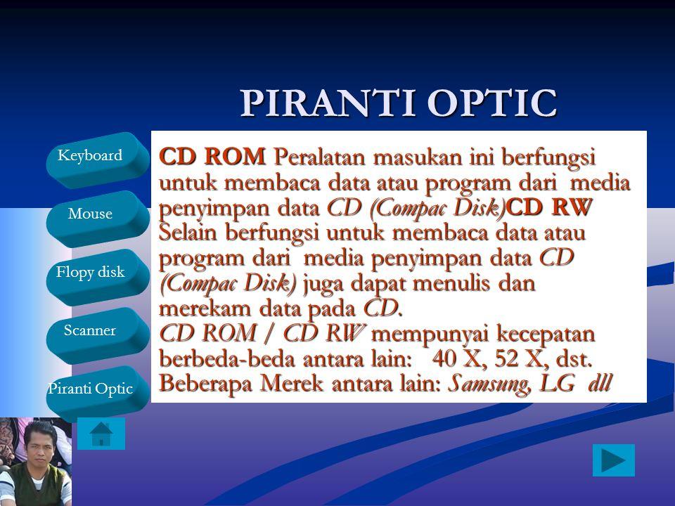 Keyboard Mouse Flopy disk Scanner Piranti Optic PIRANTI OPTIC CD ROM Peralatan masukan ini berfungsi untuk membaca data atau program dari media penyim