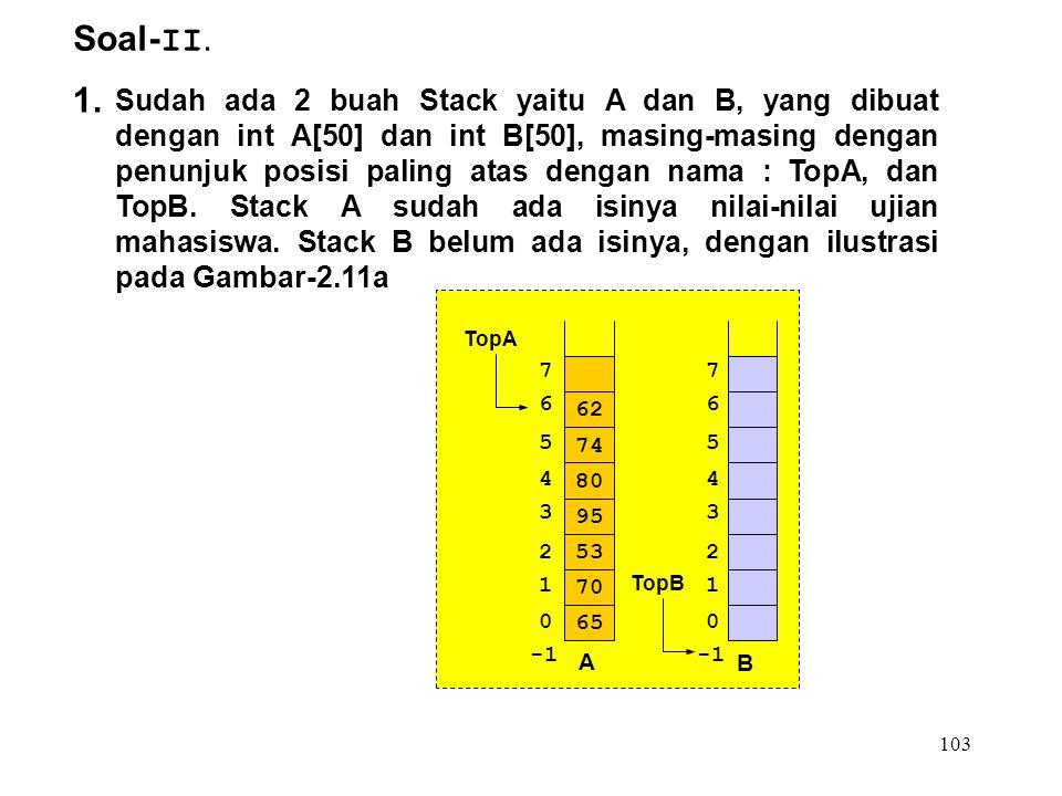 103 Soal- II. 1. Sudah ada 2 buah Stack yaitu A dan B, yang dibuat dengan int A[50] dan int B[50], masing-masing dengan penunjuk posisi paling atas de