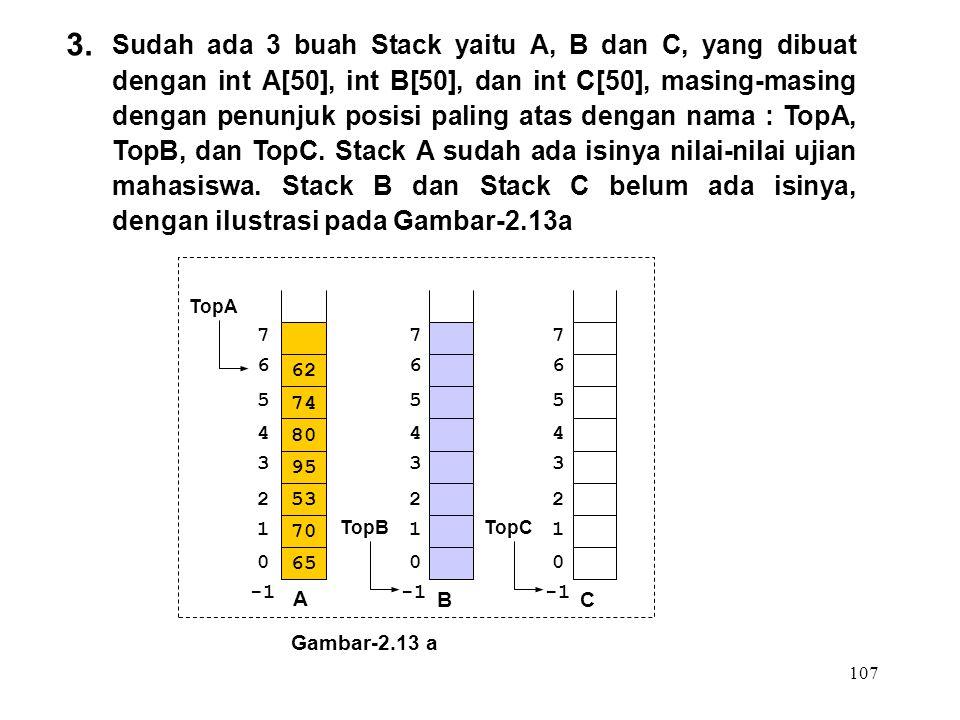 107 3. Sudah ada 3 buah Stack yaitu A, B dan C, yang dibuat dengan int A[50], int B[50], dan int C[50], masing-masing dengan penunjuk posisi paling at