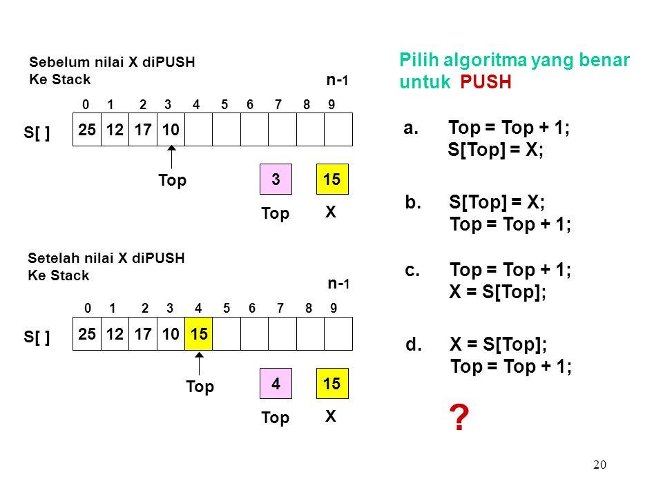 20 Pilih algoritma yang benar untuk PUSH a.Top = Top + 1; S[Top] = X; b.S[Top] = X; Top = Top + 1; c.Top = Top + 1; X = S[Top]; d.X = S[Top]; Top = To