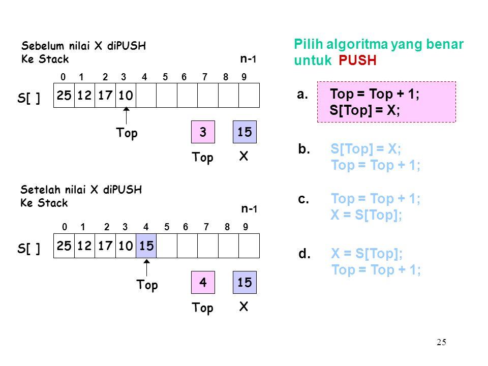 25 Pilih algoritma yang benar untuk PUSH a.Top = Top + 1; S[Top] = X; b.S[Top] = X; Top = Top + 1; c.Top = Top + 1; X = S[Top]; d.X = S[Top]; Top = To