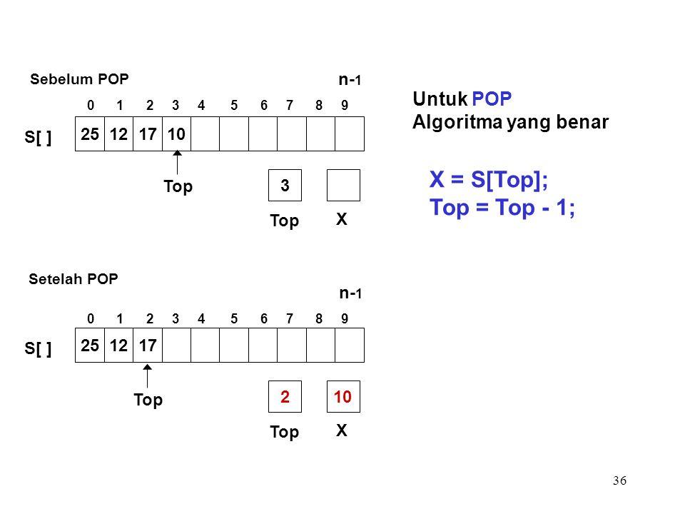 36 Untuk POP Algoritma yang benar X = S[Top]; Top = Top - 1; Top X 3 25121710 S[ ] Top X 210 Top 251217 S[ ] Setelah POP Sebelum POP 0 1 2 3 4 5 6 7 8