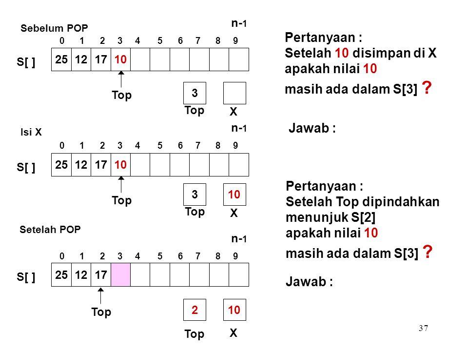 37 Pertanyaan : Setelah 10 disimpan di X apakah nilai 10 masih ada dalam S[3] ? Pertanyaan : Setelah Top dipindahkan menunjuk S[2] apakah nilai 10 mas