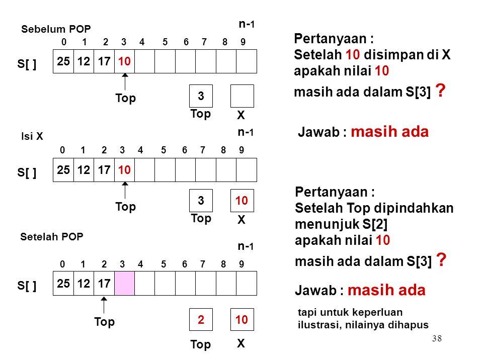 38 Pertanyaan : Setelah 10 disimpan di X apakah nilai 10 masih ada dalam S[3] ? Pertanyaan : Setelah Top dipindahkan menunjuk S[2] apakah nilai 10 mas