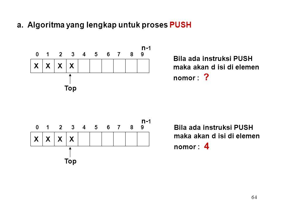 64 a. Algoritma yang lengkap untuk proses PUSH Bila ada instruksi PUSH maka akan d isi di elemen nomor : ? Bila ada instruksi PUSH maka akan d isi di