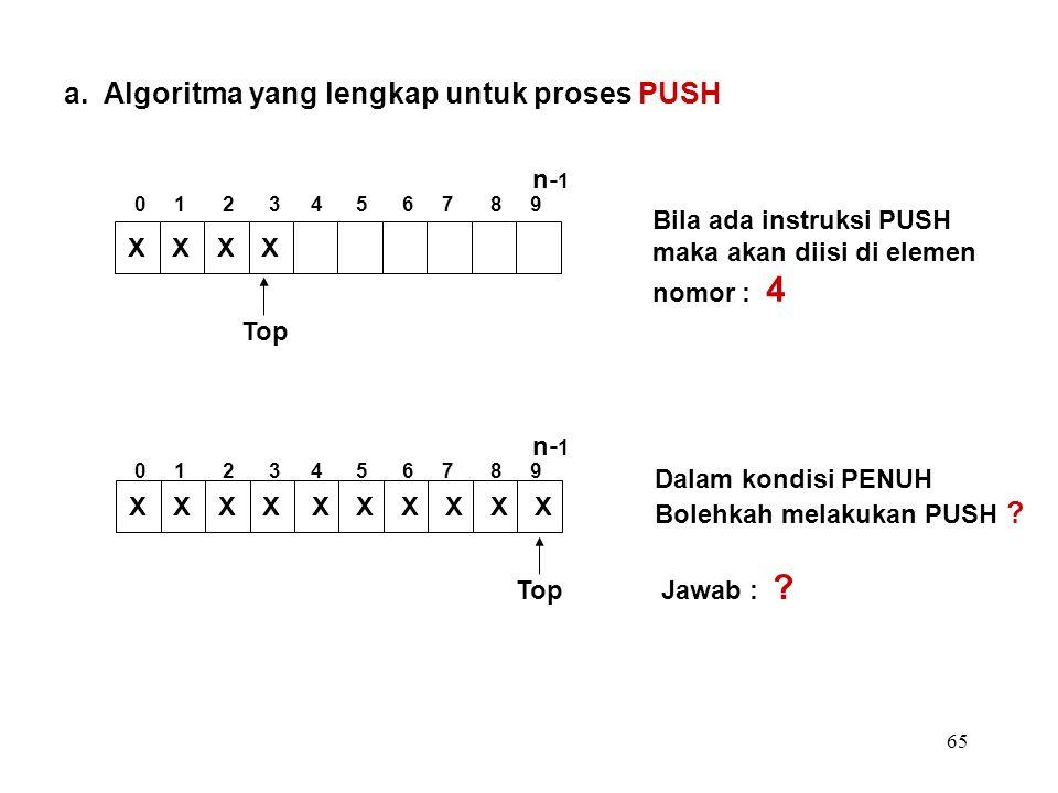 65 a. Algoritma yang lengkap untuk proses PUSH Bila ada instruksi PUSH maka akan diisi di elemen nomor : 4 Dalam kondisi PENUH Bolehkah melakukan PUSH
