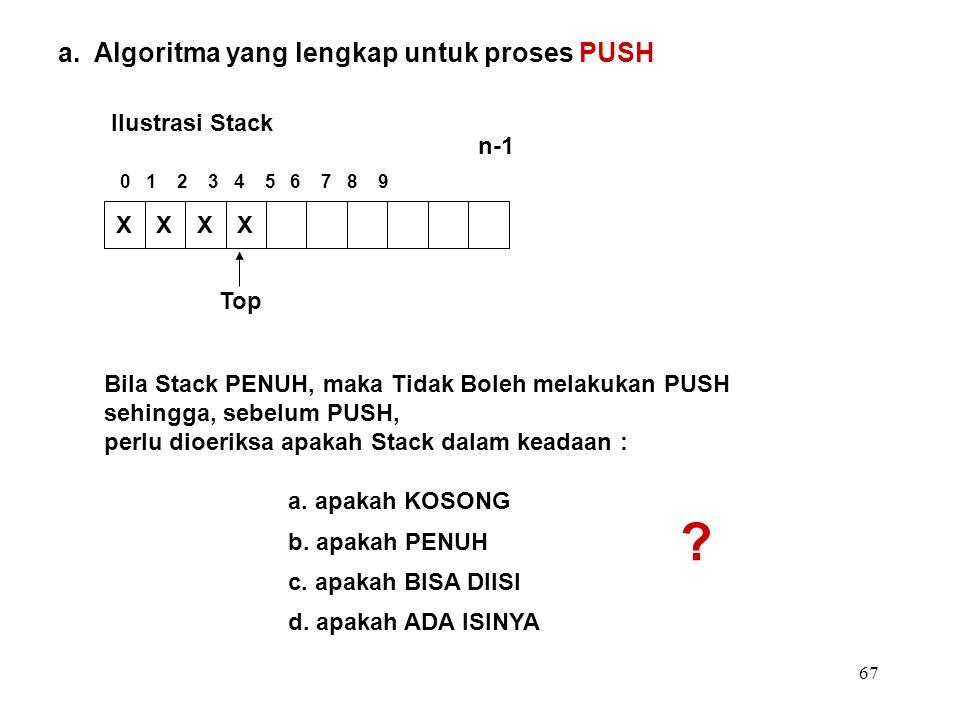 67 a. Algoritma yang lengkap untuk proses PUSH Ilustrasi Stack Bila Stack PENUH, maka Tidak Boleh melakukan PUSH sehingga, sebelum PUSH, perlu dioerik