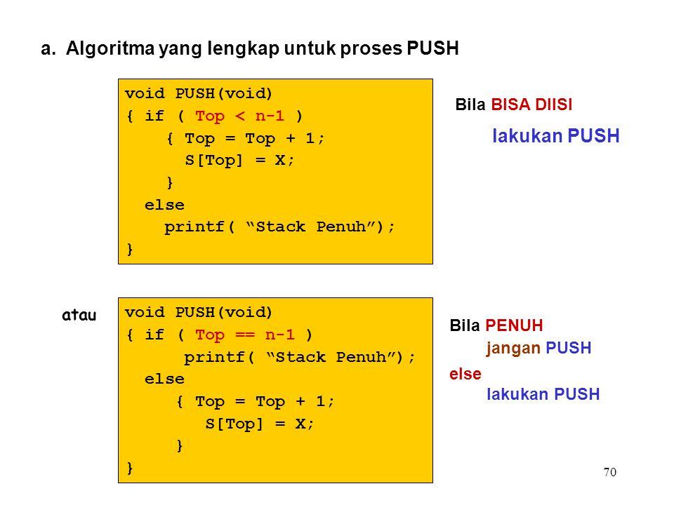 """70 a. Algoritma yang lengkap untuk proses PUSH void PUSH(void) { if ( Top < n-1 ) { Top = Top + 1; S[Top] = X; } else printf( """"Stack Penuh""""); } void P"""