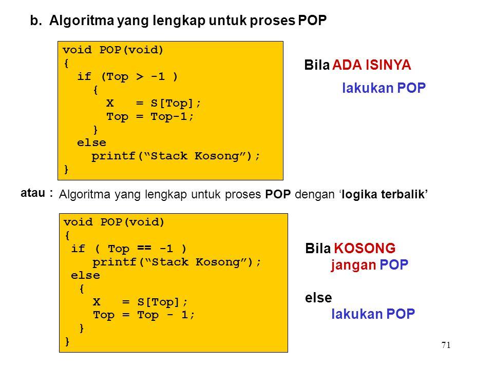 """71 b. Algoritma yang lengkap untuk proses POP void POP(void) { if (Top > -1 ) { X = S[Top]; Top = Top-1; } else printf(""""Stack Kosong""""); } Algoritma ya"""