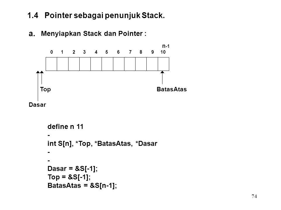 74 1.4 Pointer sebagai penunjuk Stack. a. Menyiapkan Stack dan Pointer : define n 11 - int S[n], *Top, *BatasAtas, *Dasar - Dasar = &S[-1]; Top = &S[-