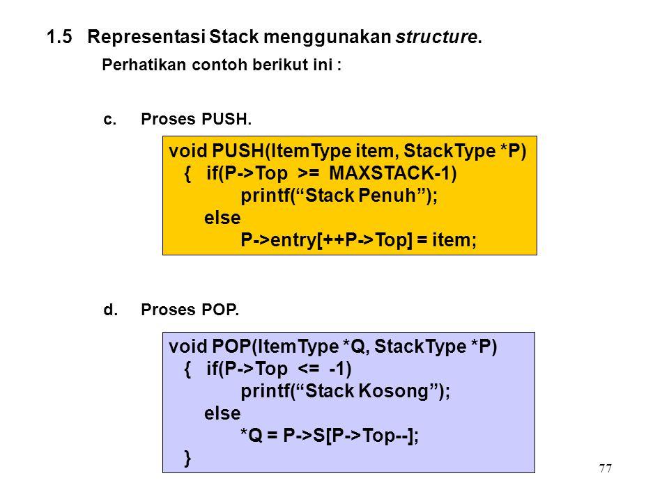 77 1.5 Representasi Stack menggunakan structure. Perhatikan contoh berikut ini : c.Proses PUSH. void PUSH(ItemType item, StackType *P) { if(P->Top >=