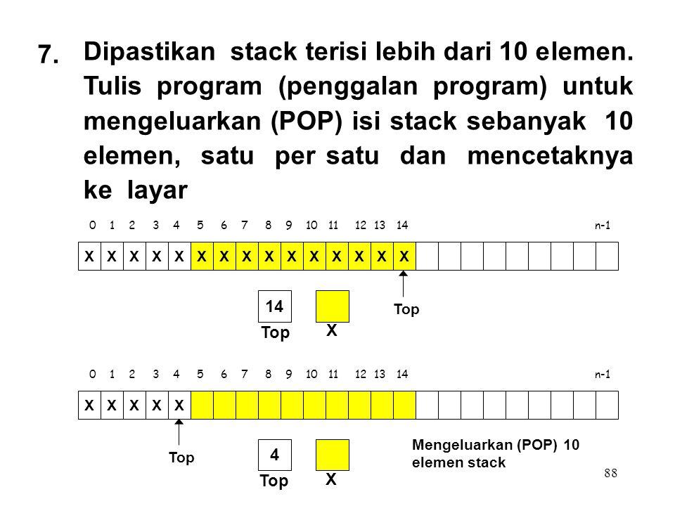 88 0 1 2 3 4 5 6 7 8 9 10 11 12 13 14 n-1 Top XXXXXXXXXXXXXXX X 14 7. Dipastikan stack terisi lebih dari 10 elemen. Tulis program (penggalan program)
