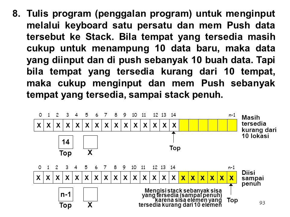 93 0 1 2 3 4 5 6 7 8 9 10 11 12 13 14 n-1 Top XXXXXXXXXXXXXXX X 14 8.Tulis program (penggalan program) untuk menginput melalui keyboard satu persatu d