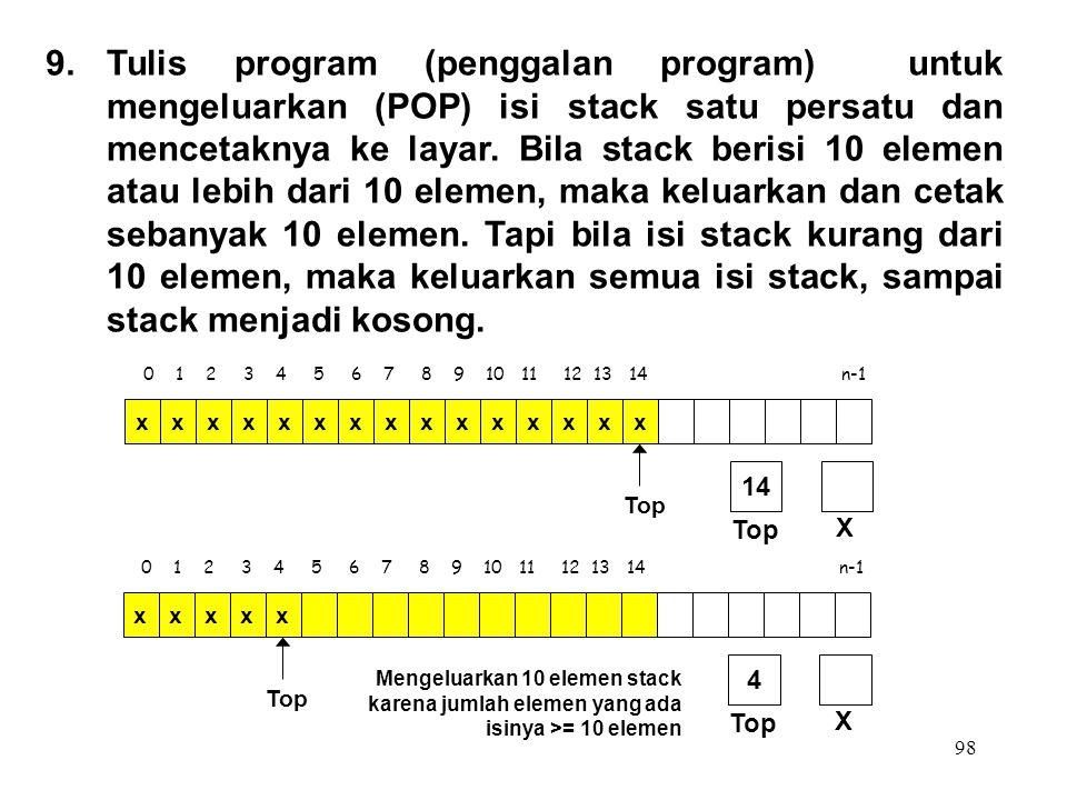 98 0 1 2 3 4 5 6 7 8 9 10 11 12 13 14 n-1 Top xxxxxxxxxxxxxxx X 14 9.Tulis program (penggalan program) untuk mengeluarkan (POP) isi stack satu persatu