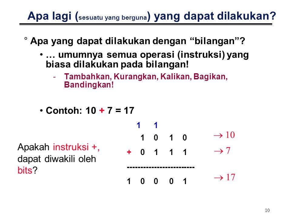 """10 Apa lagi ( sesuatu yang berguna ) yang dapat dilakukan? °Apa yang dapat dilakukan dengan """"bilangan""""? … umumnya semua operasi (instruksi) yang biasa"""
