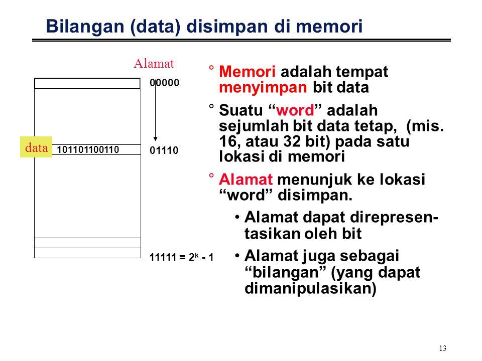"""13 Bilangan (data) disimpan di memori °Memori adalah tempat menyimpan bit data °Suatu """"word"""" adalah sejumlah bit data tetap, (mis. 16, atau 32 bit) pa"""