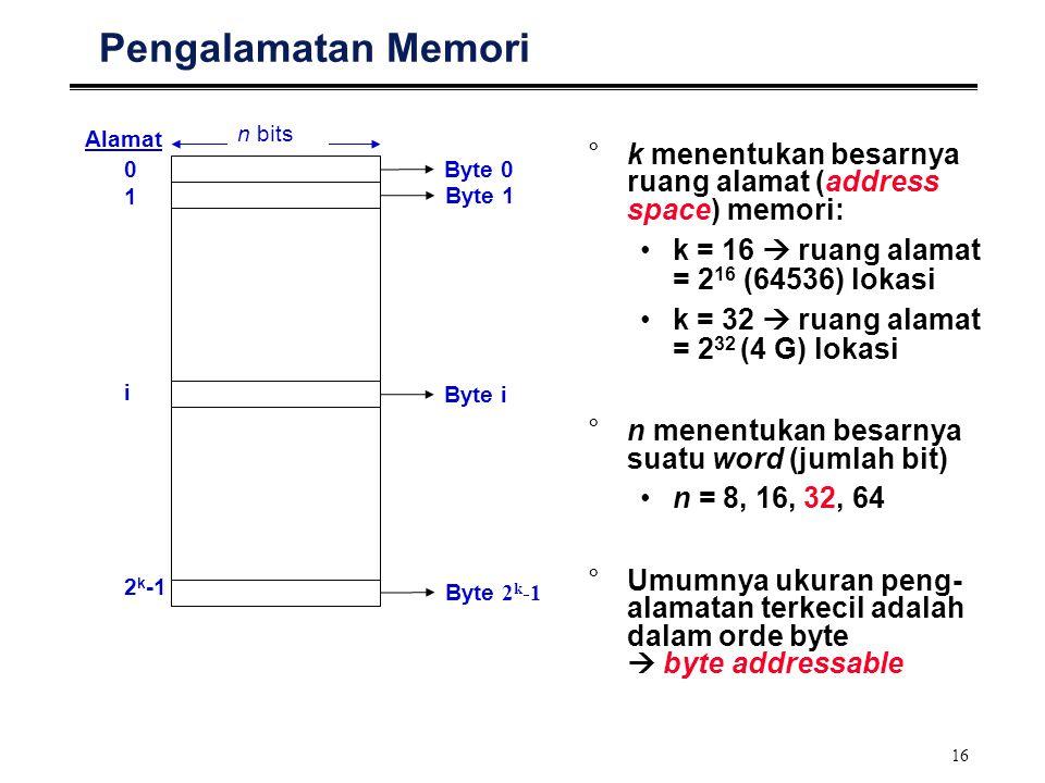 16 Pengalamatan Memori 0 1 i 2 k -1 Alamat n bits Byte 0 Byte 1 Byte i Byte 2 k -1 °k menentukan besarnya ruang alamat (address space) memori: k = 16