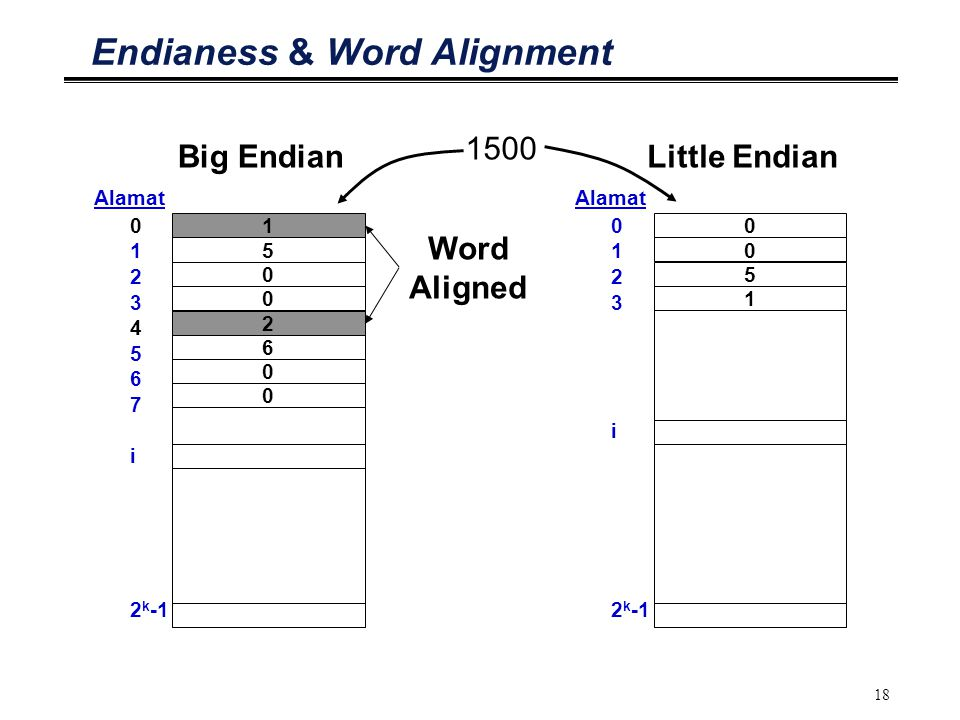 18 Endianess & Word Alignment 0 1 2 3 4 5 6 7 i 2 k -1 1 Alamat 5 0 0 Big Endian 0 1 2 3 i 2 k -1 0 Alamat 0 5 1 Little Endian 1500 2 6 0 0 Word Aligned
