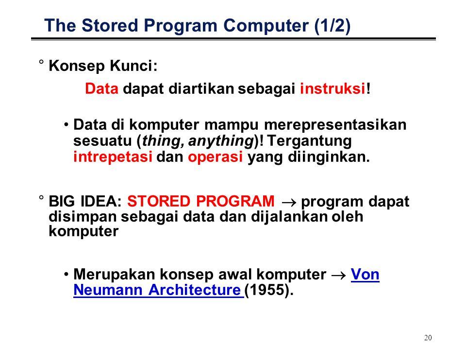 20 The Stored Program Computer (1/2) °Konsep Kunci: Data dapat diartikan sebagai instruksi! Data di komputer mampu merepresentasikan sesuatu (thing, a