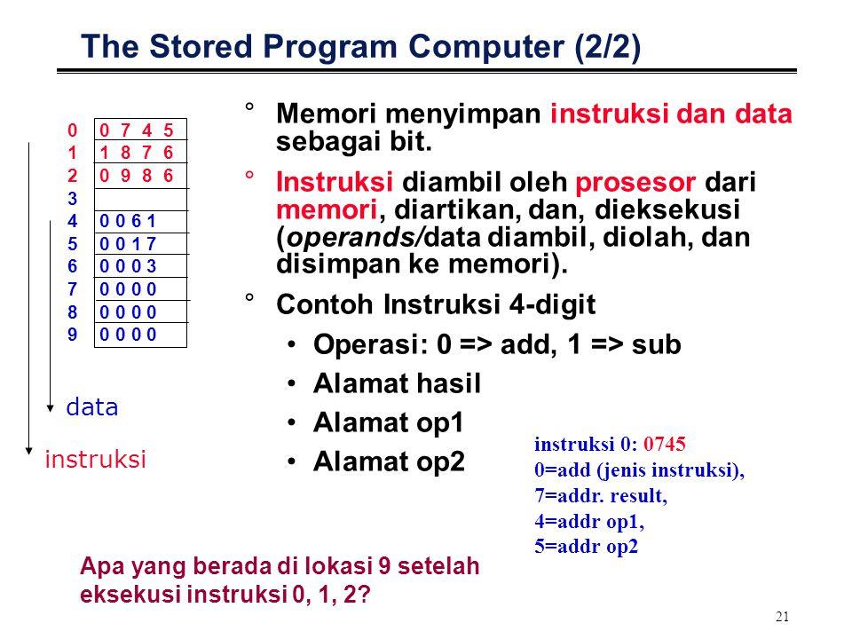 21 The Stored Program Computer (2/2) °Memori menyimpan instruksi dan data sebagai bit. °Instruksi diambil oleh prosesor dari memori, diartikan, dan, d