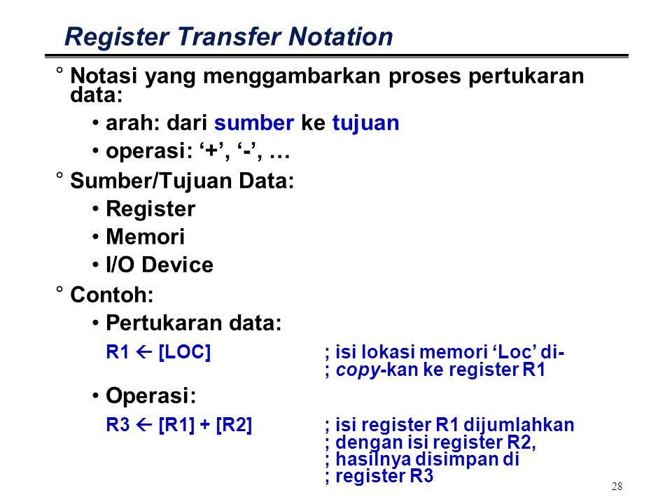 28 Register Transfer Notation °Notasi yang menggambarkan proses pertukaran data: arah: dari sumber ke tujuan operasi: '+', '-', … °Sumber/Tujuan Data: