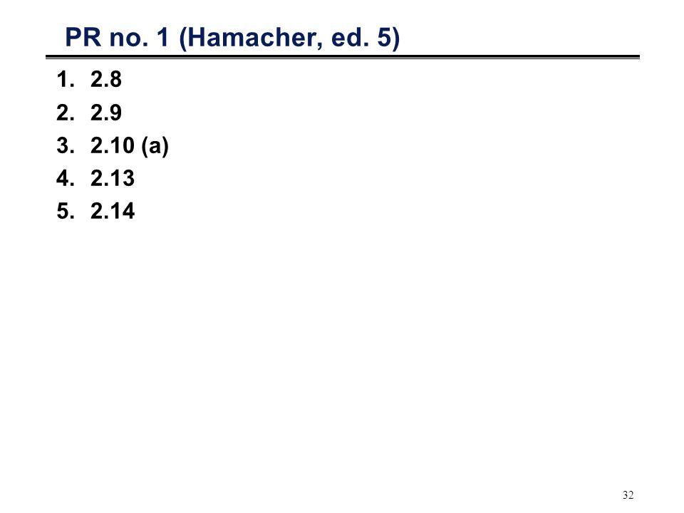 32 PR no. 1 (Hamacher, ed. 5) 1.2.8 2.2.9 3.2.10 (a) 4.2.13 5.2.14