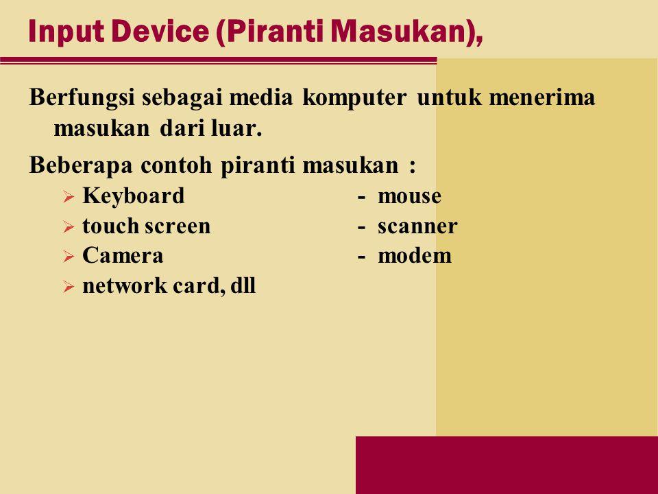 Input Device (Piranti Masukan), Berfungsi sebagai media komputer untuk menerima masukan dari luar.