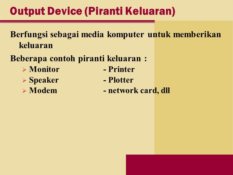 Output Device (Piranti Keluaran) Berfungsi sebagai media komputer untuk memberikan keluaran Beberapa contoh piranti keluaran :  Monitor - Printer  Speaker - Plotter  Modem - network card, dll