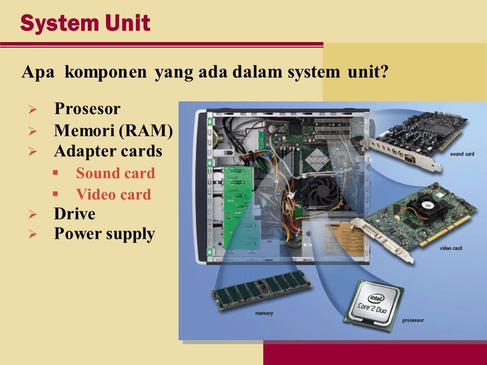 System Unit Apa komponen yang ada dalam system unit.