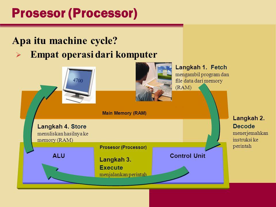 Prosesor (Processor) Control Unit Main Memory (RAM) ALU Prosesor (Processor) Apa itu machine cycle.