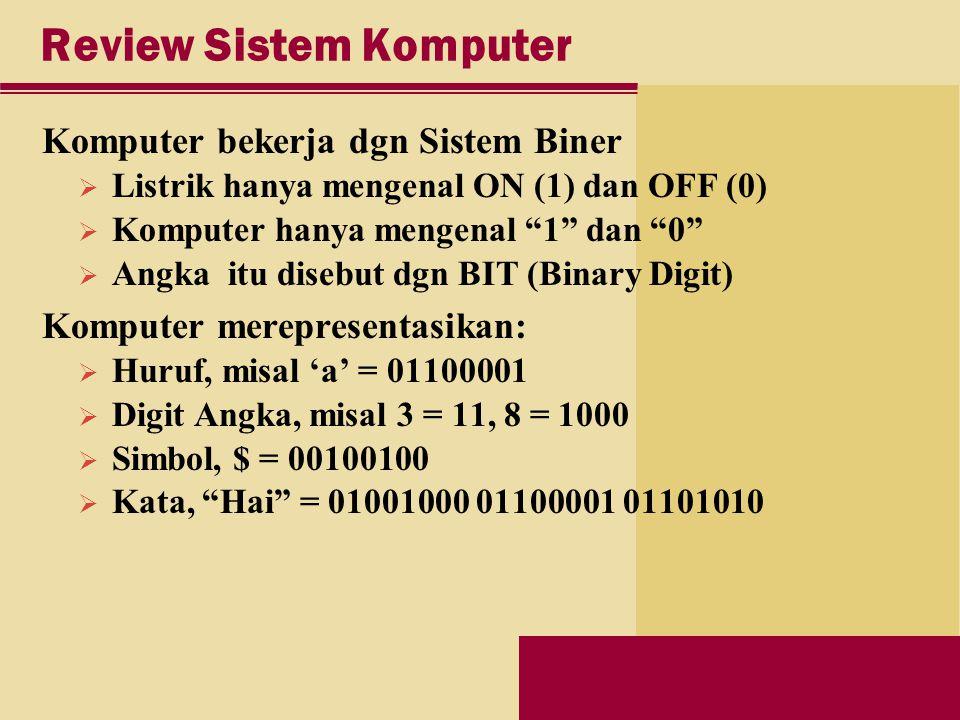 Review Sistem Komputer Komputer bekerja dgn Sistem Biner  Listrik hanya mengenal ON (1) dan OFF (0)  Komputer hanya mengenal 1 dan 0  Angka itu disebut dgn BIT (Binary Digit) Komputer merepresentasikan:  Huruf, misal 'a' = 01100001  Digit Angka, misal 3 = 11, 8 = 1000  Simbol, $ = 00100100  Kata, Hai = 01001000 01100001 01101010