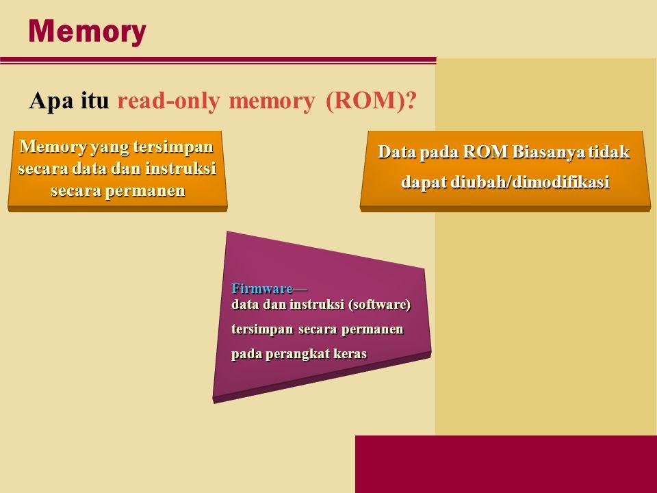 Memory Apa itu read-only memory (ROM).
