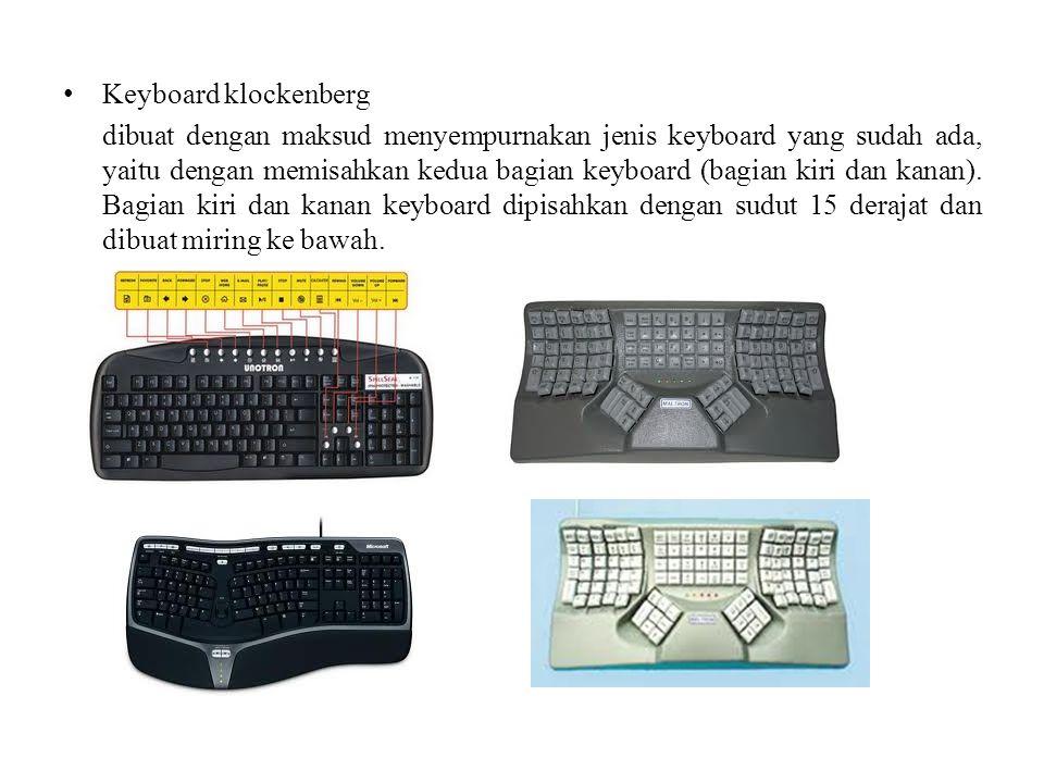 Keyboard klockenberg dibuat dengan maksud menyempurnakan jenis keyboard yang sudah ada, yaitu dengan memisahkan kedua bagian keyboard (bagian kiri dan