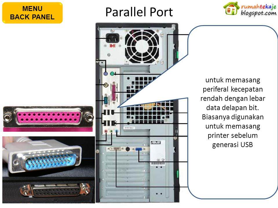 Parallel Port AC Power Plug PS/2 Keyboard Port S/PDIF Out Port Serial Port USB Port Microphone Port Line In Port PS/2 Mouse PortPararel Port IEEE1394